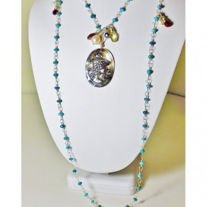 Long turquoise & gold necklace vintage black mother of pearl cameo,statement necklace,cameo necklace,long necklace,turquoise necklace,