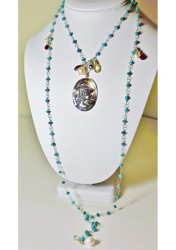 Top Long turquoise & gold necklace vintage black mother of pearl came  JN91