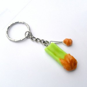 Peanut Butter on Celery Stick Keychain, Kitschy and Cute :D