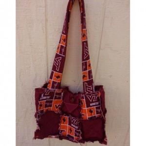Va Tech - Virginia Tech rag quilt style purse bag with inside pocket quilted - Hokies Maroon orange