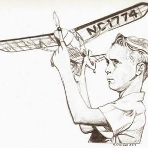Original model airplane, nostalgic, boy, 1950's drawing