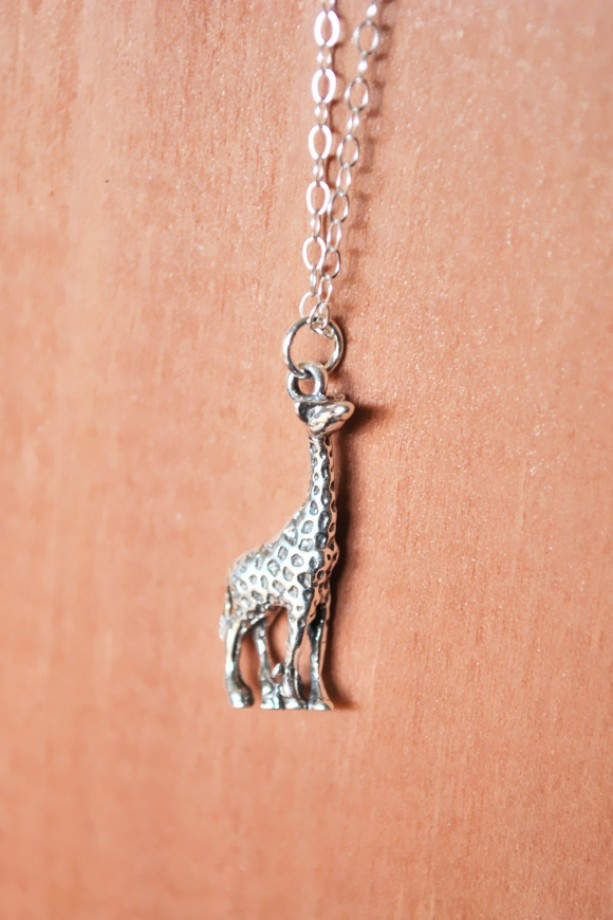 Sterling Silver Giraffe Charm Necklace