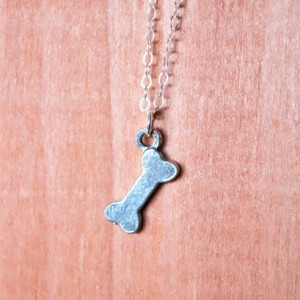 Silver Dog Bone Charm Necklace