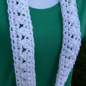 SUMMER SCARF Small Infinity Loop Solid White, Super Soft Lightweight Crochet Knit Endless Circle Neck Skinny Cowl, Ready to Ship in 3 days
