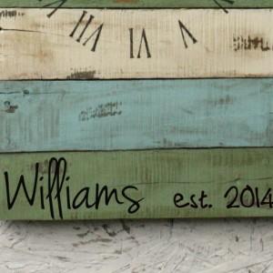 Rectangular Pallet Wood Clock.  Beach House Style. Wall Clock. Customizable.  Housewarming Gift.  Wedding.  Anniversary. Blue & Green