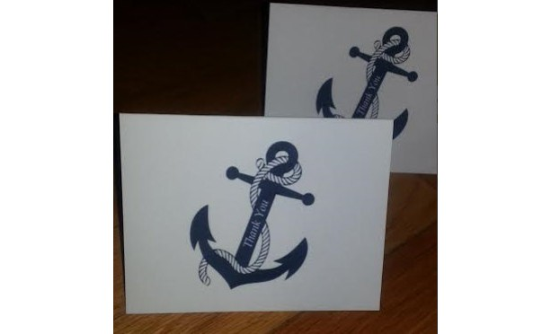 Nautical Anchor Thank you Cards / Party Invite / Note Cards - Set of 25