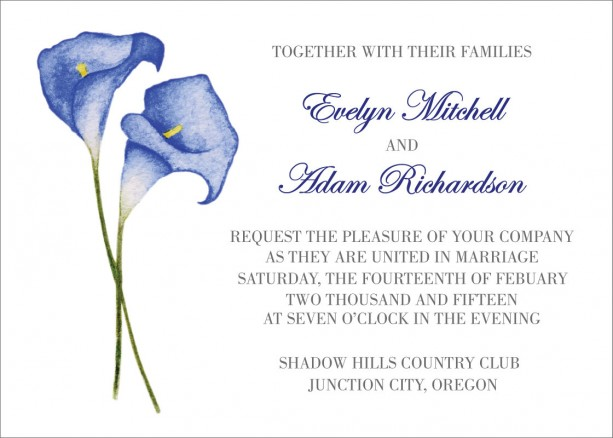 Do-it-yourself calla lily wedding invitations