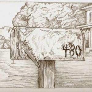 Original mailbox, car, house drawing