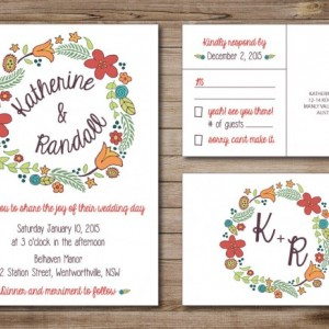 Modern Wedding Invitation and RSVP Postcard- Custom Design- Printable or Printed- Wreath, Whimsical, Simple, Colorful, Flowers, Hand Drawn