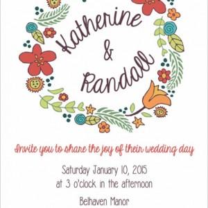 Modern Wedding Invitation and RSVP Postcard- Custom Design- Printable or Printed- Wreath, Whimsical, Simple, Colorful, Flowers, Hand Drawn