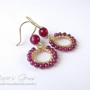 Garnet Earrings, Circle, Gold Filled, Wire Wrapped, Gold Hoop, Ruby Agate, Handmade, Gemstone Jewelry, Red, Raspberry, Cerise, 775