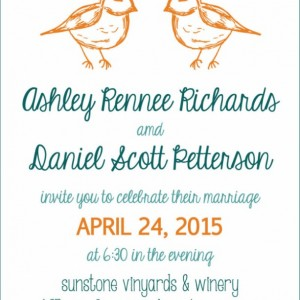 Two Birds of a Feather - Modern Wedding Invitation and RSVP Postcard- Custom Design- Printable or Printed- Simple - Whimsical - Hand Drawn
