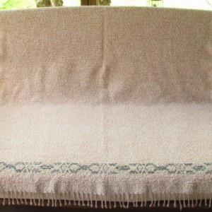 Coverlet Throw Blanket, Sand Peach Blue Green, Handwoven