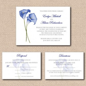 Traditional Wedding Invitation and RSVP Card with Option of Adding a Directions and/or Accommodations Card - Calla Lilies - Printable