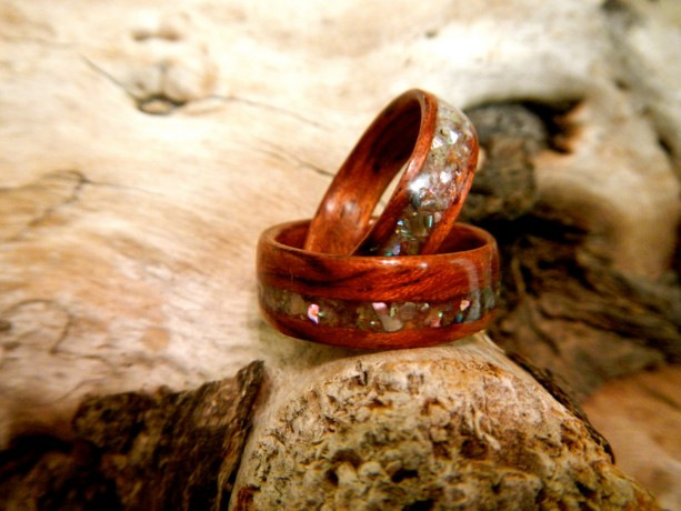 His and hers light colored Rosewood Bentwood Ring with Abalone Shell inlay.