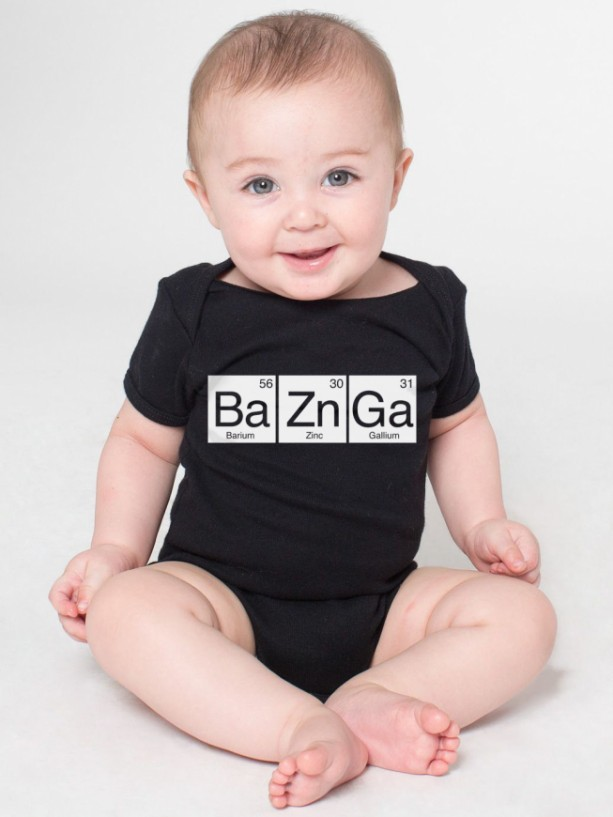 BaZnGa Periodic Table Cotton Baby One Piece Bodysuit - Bazinga Infant Girl and Boy
