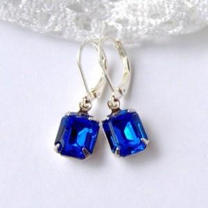 Sapphire Blue Rhinestone Earrings / silver / September birthstone