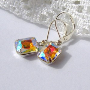 Aurora Borealis Rhinestone earrings / Rainbow Rhinestone