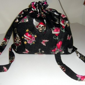 Ed Hardy Skulls and Hearts Drawstring Backpack
