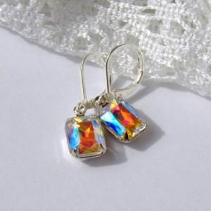 Aurora Borealis Rhinestone earrings / Rainbow Rhinestone