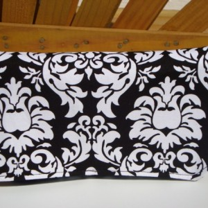 Coupon Organizer / Budget Organizer Holder- Attaches to your Shopping Cart -  Black and White Damask - Teal Lining