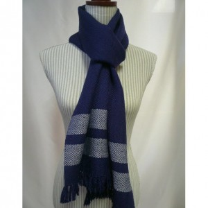 navy & grey:  handwoven twill wool scarf