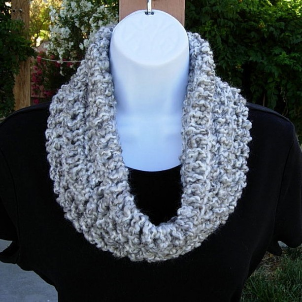 SUMMER COWL SCARF Light Silver Gray Grey & White, Small Short Infinity Loop Crochet Knit Soft Lightweight Neck Warmer, Ready to Ship in 2 Days