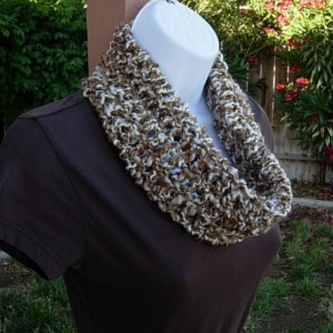 SUMMER COWL SCARF, Caramel Tan Brown & Off White, Small Short Infinity Loop Crochet Knit Soft Lightweight Neck Warmer..Ready to Ship in 2 Days