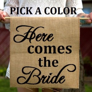 Burlap Here Comes The Bride Ring Bearer Sign - Rustic Ceremony Banner