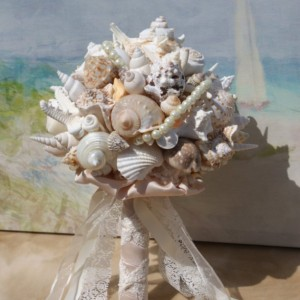 Extra Large Seashell  and Starfish Wedding Bouquet / Boutonierre Set  for any Beach Wedding, Seaside Wedding, Destination wedding
