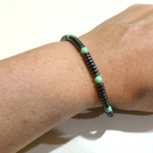 Mens retro bracelet, dudes designer bracelet, bracelet for him, hematite and turquoise bracelet, guy, dude, brother, boyfriend bracelet
