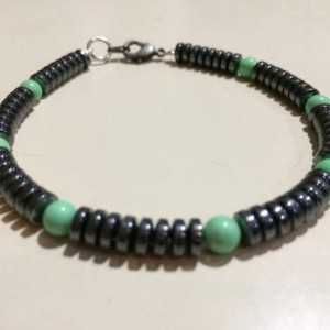 Mens retro bracelet, dudes designer bracelet, bracelet for him, hematite and turquoise bracelet, guy, dude, brother, boyfriend bracelet