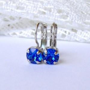 Sapphire Blue rhinestone earrings / 6mm / Swarovski earrings / leverback earrings