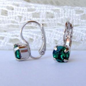 Emerald rhinestone earrings / 6mm / Swarovski earrings / leverback earrings