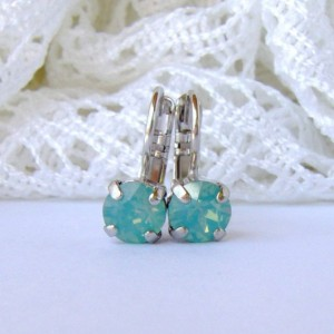 Pacific Opal rhinestone earrings / 6mm / Swarovski earrings / leverback earrings