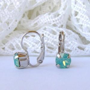 Pacific Opal rhinestone earrings / 6mm / Swarovski earrings / leverback earrings