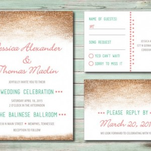 Modern Wedding Invitation and RSVP Postcard- Custom Design- Printable or Printed- Digital Gold Glitter - Pink and Mint - Unique Design