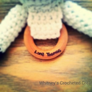 crochet cow teething ring, organic, wooden, plushie, cow toy, stuffed animal, baby shower gift, new baby gift, infant toy, learning toy
