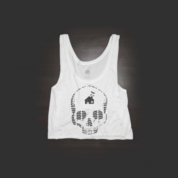 Crop Top Urban Bat Skull Shirt in White
