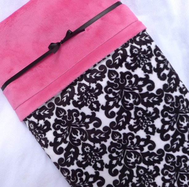 Bedding, Minky Baby Blanket, Black and White Damask Baby Blanket with Hot Pink Fuschia Smooth Minky, Baby Blanket for Your Baby Girl