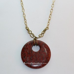 Red Stone with Three Brass Naval Knot Wraps Pendant - Sirens and Sailors Collection