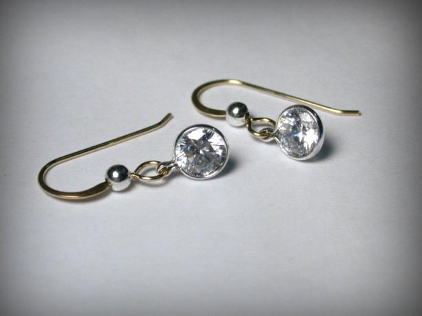 Two Tone Earrings Swarovski CZ Earrings in Sterling Silver and 14K G.F., Cubic Zirconia, Swarovski Crystal, Drop Earrings,  Dangles