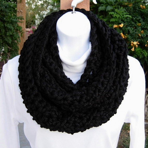 INFINITY SCARF Loop Cowl Solid Black 100%  Extra Soft Bulky Acrylic Handmade Thick Crochet Knit Winter Circle Wrap., eady to Ship in 3 Days