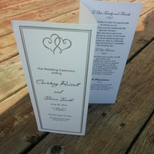 Personalized Platinum Hearts Wedding Program / Wedding or Special Event
