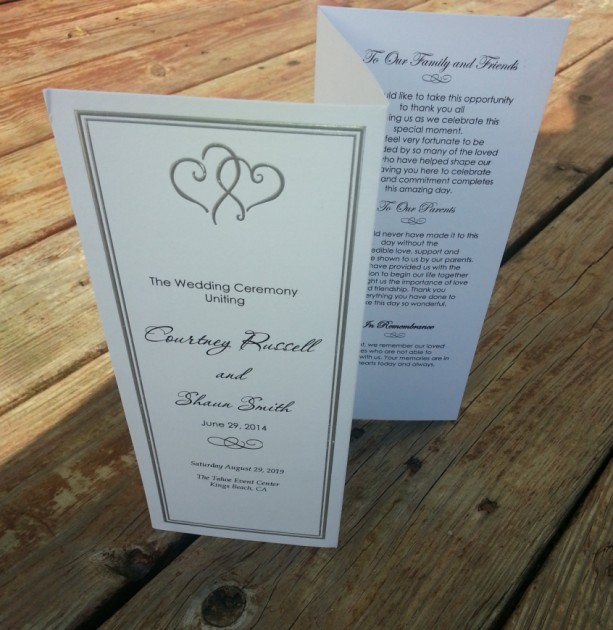 Personalized Platinum Hearts Wedding Program / Wedding or Special Event