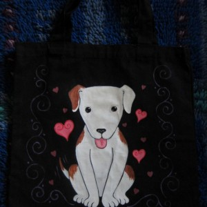 Hand Painted Kawaii Puppy Canvas Tote Bag