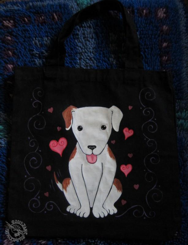Hand Painted Kawaii Puppy Canvas Tote Bag