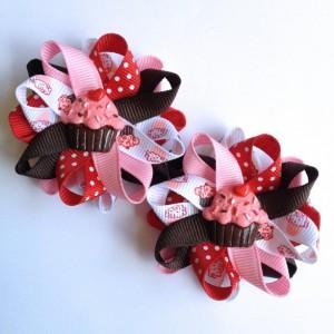 "Red, Pink & Brown Cupcake 2.5"" Hair Bows - Handmade - Birthday Hair Bows - Cupcake Hair Bow Set - 2.5"" Hair Bows - No Slip - Made To Order"