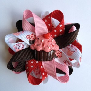 "Red, Pink & Brown Cupcake 2.5"" Hair Bows - Handmade - Birthday Hair Bows - Cupcake Hair Bow Set - 2.5"" Hair Bows - No Slip - Made To Order"