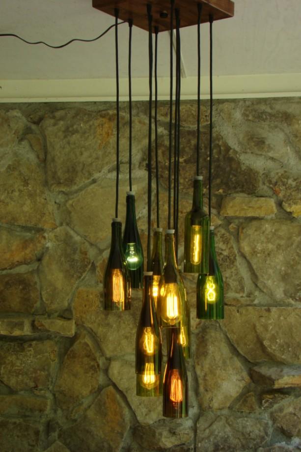 Wine bottle chandelier aftcra - Wine bottles chandelier ...